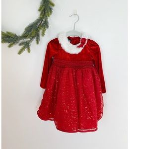 Christmas Holiday Dress 2T Faux Fur Sequin Red